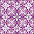 Abstract Geometric Seamless Pattern with Floral Ornament in Purple and Rose Pink Color.