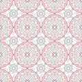 Abstract Geometric Seamless Pattern with Floral Ornament in Rose Pink and Grey Color.