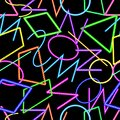 Abstract geometric seamless pattern, neon colors