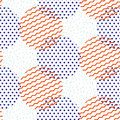 Abstract geometric shapes dotted and striped circles vector pattern.