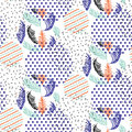 Abstract geometric shapes dotted and striped leaves circles vector pattern.