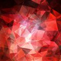 Abstract geometric shining red background with transparent polygonal pattern and light dots Stock Photos