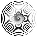 Abstract geometric spiral, ripples with circular, concentric lines. Vector whirlpool swirl effect depth