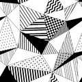 Abstract geometric striped triangles seamless pattern in black and white, vector Royalty Free Stock Photo