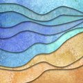 Abstract geometric summer watercolor sea waves and sand beach background