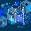 Abstract geometric vector blue background with cubes and other e