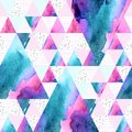 Abstract geometric watercolor seamless pattern.