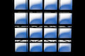 Abstract geometrics of a skylight bleuish light shining through the opaque glass in high atrium Royalty Free Stock Photo