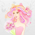 Abstract girl with bouquet watercolor imitation painted pink messy hair holding Royalty Free Stock Image