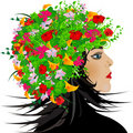 Abstract girl with flowers in hair Stock Image
