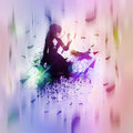 Abstract girl and raven illustration of a d gothic with background Royalty Free Stock Photos
