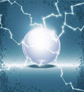 Abstract glass ball and lightning Stock Photo