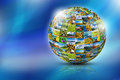 Abstract globe formed by nature photos Royalty Free Stock Photo