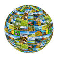 Abstract globe formed by nature photos - isolated on white backg Royalty Free Stock Photo