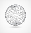 Abstract globe sphere from gray lines on white Royalty Free Stock Photo