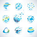 Abstract globe symbol set, communication and technology icons