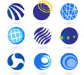 Abstract globes, spheres, circles  icons Royalty Free Stock Images