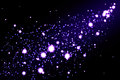 Abstract glowing background starry glitter trail illustration purple bright glittering light circles on dark Stock Image