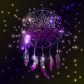Abstract glowing dreamcatcher in blue and pink colors. Luminescence  illustration. Boho style background, ethnic design elem Royalty Free Stock Photo