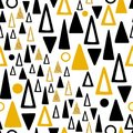 Abstract gold and black triangles seamless pattern