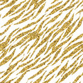 Abstract gold glitter animal print white seamless pattern. Zebra, tiger stripes, lines. Striped repeating background texture. Royalty Free Stock Photo