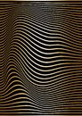 Abstract gold lines are curved on a black background. Optical illusion of concavity and curvature. Wavy vertical vector background Royalty Free Stock Photo