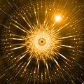 Abstract Gold or Yellow Sci-Fi Circular Ornamental Pattern or Background Royalty Free Stock Photo