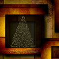 Abstract golden alphabet christmas tree on elegant background fir formed by letters of the in geometric Stock Photo