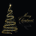 Abstract golden christmas tree on black background Stock Photos