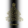 Abstract golden christmas tree on black and white background and text merry Royalty Free Stock Photos