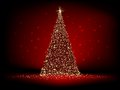 Abstract golden christmas tree on red eps background vector file included Royalty Free Stock Image