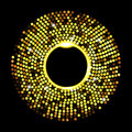 Abstract golden dots on black background