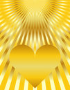 Abstract Golden Heart Sunburst Background Royalty Free Stock Photo