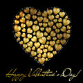 Abstract golden heart Valentine's day postc