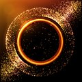 Abstract golden luminous ring. Stardust. Glowing yellow circle with particles. Sparkling neon light effect, shiny magic banner.
