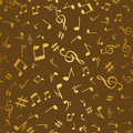 Abstract golden music notes seamless pattern background vector illustration for your design Royalty Free Stock Photo