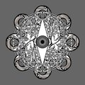 Abstract gothic symbol with vertical eye and crossed tentacles Royalty Free Stock Photo