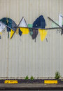 Abstract graffiti on the garage wall Royalty Free Stock Photo