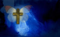 Abstract graphic with cross and butterfly wings illustration composed of christian on blue dramatic textured brush stroke Royalty Free Stock Photography