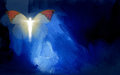 Abstract graphic with human figure and butterfly wings composed of glowing silhouette of in shape of christian cross on blue Royalty Free Stock Images