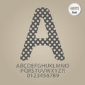 Abstract grate alphabet and digit vector set of Stock Image
