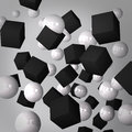 Abstract gray background made of black cubes and white spheres Stock Photos