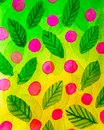 Abstract green background of leaves of trees and pink berries in watercolor style