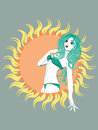 Abstract green bikini girl with long wavy hair and big sun Royalty Free Stock Photo