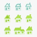 Abstract green and blue icons house eps Royalty Free Stock Images