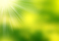 Abstract green blurry background , light effects and sun burst.