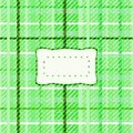 Abstract green checkered irregular tile with sticker Royalty Free Stock Photo