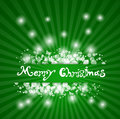 Abstract green christmas background with rays and sparkles Stock Photography