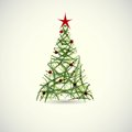 Abstract green christmas tree vector with a red star and balls Stock Photo
