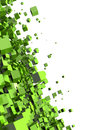 Abstract green cubes background of on white with copy space Royalty Free Stock Photo